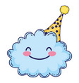 cloud smiling with hat vector image