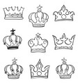 collection sketch crown doodle set vector image vector image