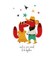 couple of cowboy dressed up foxes vector image vector image