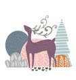 creative forest print with abstract deer vector image
