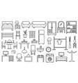 furniture icon set outline on white background vector image vector image