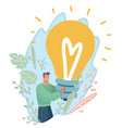 guy with giant lamp in his hands new idea concept vector image vector image