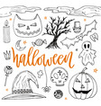 halloween hand drawn doodle silhouette icons cute vector image vector image