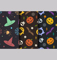 halloween seamless pattern collection vector image