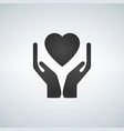 hands holding heart flat icon for apps and website vector image