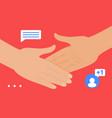 handshake gesture social media network friend vector image
