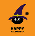 happy halloween black cat face head silhouette vector image vector image