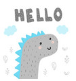 hello hand drawn print with cute fantastic animal vector image