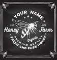 honey farm badge on chalkboard vector image vector image