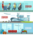 international airport horizontal banners vector image vector image