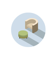 isometric modern beige armchair with pouf vector image vector image