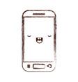 kawaii smartphone icon in monochrome blurred vector image