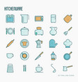 kitchenware and tableware thin line icons set vector image vector image