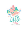 little bird logo design emblem with cute little vector image vector image