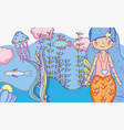 mermaid woman with oyster and fishes underwater vector image vector image