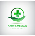 nature medical logo green leaf and crest vector image vector image