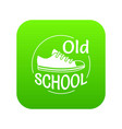 old school icon green vector image