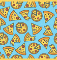 pizza slice seamless pattern on blue background vector image vector image