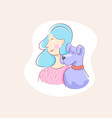 pretty girl behind dog with love vector image