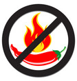 prohibition sign with spicy pepper vector image