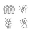 protest action linear icons set vector image vector image