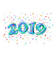 realistic 2019 blue ballon numbers and festive vector image vector image