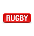 rugby red 3d square button isolated on white vector image vector image