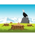 Sawed down wood and eagle on stone vector image vector image