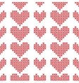 Seamless pattern with cross-stitch hearts on white vector image