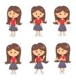 set full length portraits cute girl vector image vector image