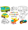 set isolated cartoon transport with eyes part 3 vector image
