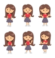 Set of full length portraits of cute girl vector image