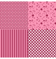set of romantic patterns vector image vector image
