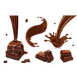 set of splashes and drops of chocolate vector image vector image