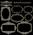 Set of Vintage frames on black vector image vector image