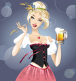 sexy blonde with beer vector image vector image