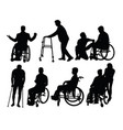 silhouette patients with physical disabilities vector image vector image