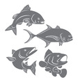 silhouettes of sea fishes vector image vector image