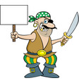 smiling pirate holding a cutlass and a sign vector image vector image