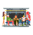 subway with people man and woman flat design vector image vector image