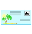 The envelope with the tropical landscape vector image vector image