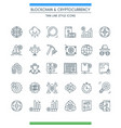 thin line design cryptocurrency icons vector image vector image
