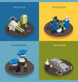 tire production isometric design concept vector image vector image