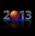 twenty thirteen year basketball on black vector image vector image