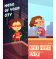 Vertical Banners With Kids In Superhero Costumes vector image vector image