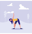 woman practicing stretching in landscape vector image