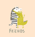 zebra and crocodile friends hug funny animals love vector image