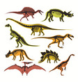 dinosaurs skeletons and silhouettes flat vector image
