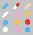 set of color medicine painkiller vector image