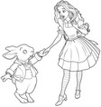 alice and rabbit vector image